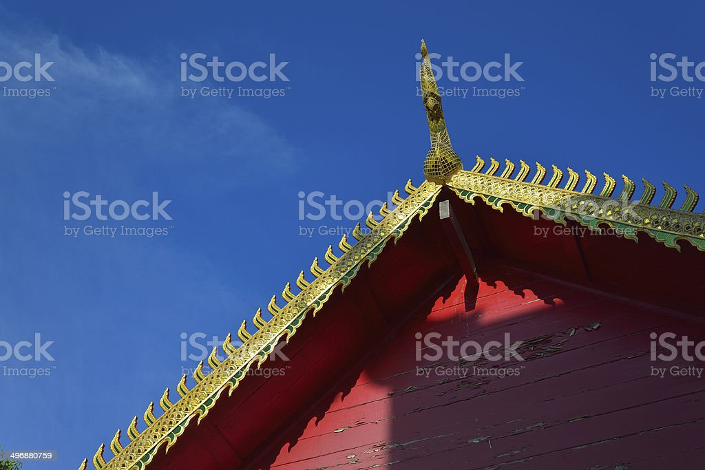 Golden gable on the roof architecture of temple thailand royalty-free stock photo