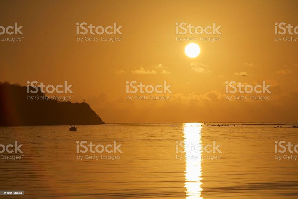 Golden Galapagos sunset stock photo