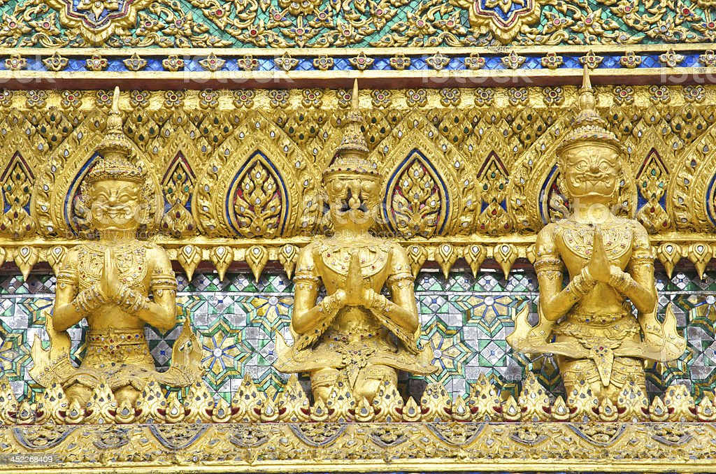 Golden garuda in Wat phra kaew royalty-free stock photo