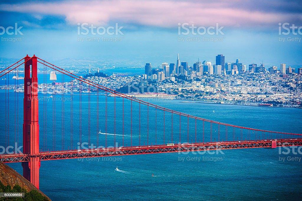 Golden Gate and San Francisco Skyline stock photo