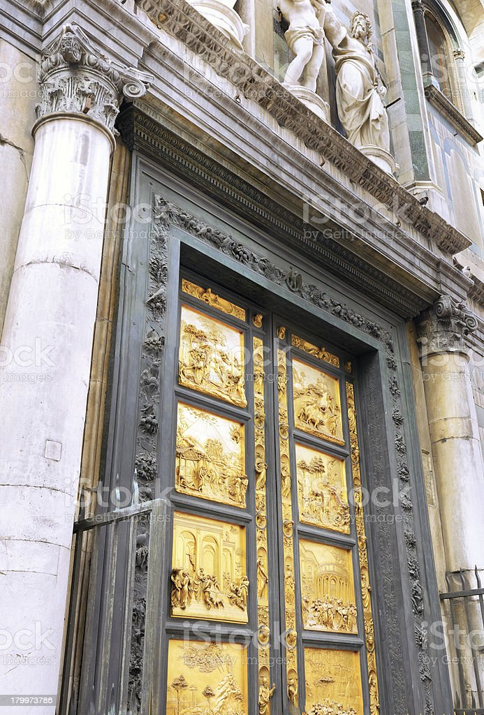 Golden Gate Basilica di Santa Croce  Florence, royalty-free stock photo