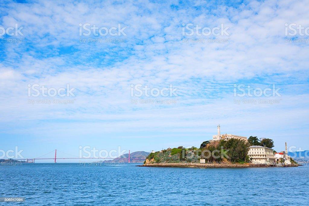 Golden Gate bridge and Alcatraz from SF bay stock photo