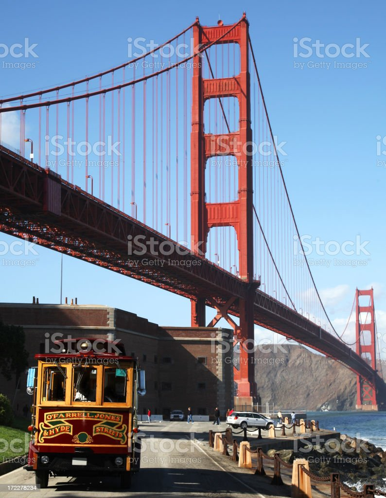 Golden Gate Bridge and Cable Car stock photo
