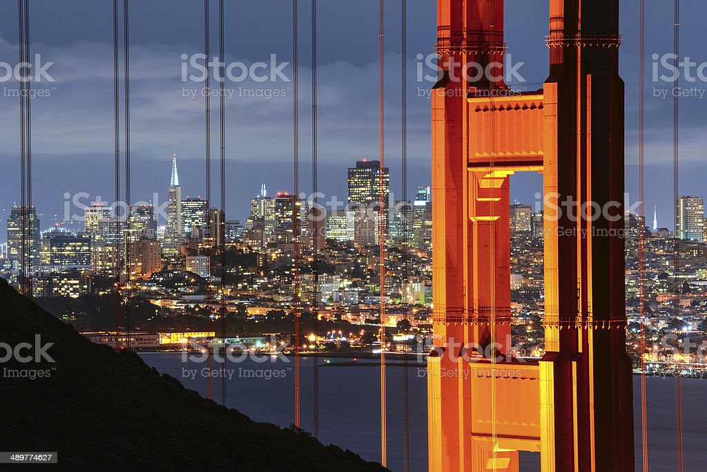 Golden Gate Bridge and Cityscape of San Francisco, California, USA stock photo