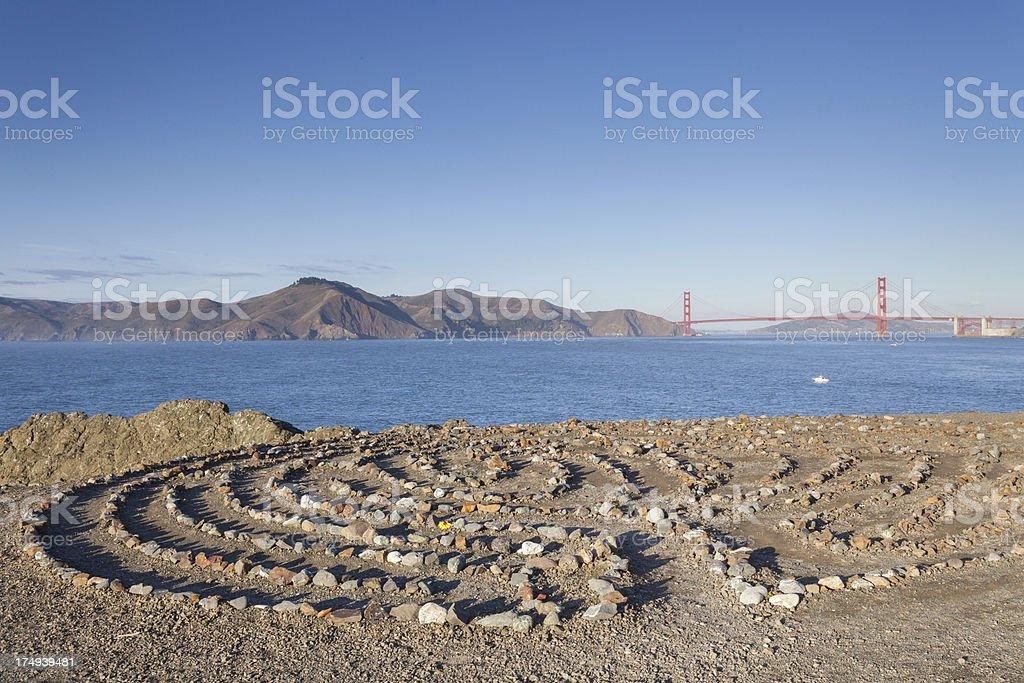 Golden Gate Bridge and rock maze stock photo