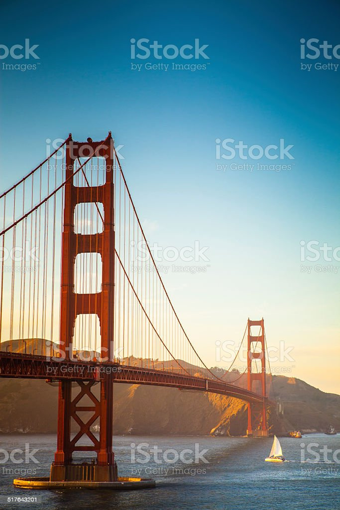 Golden Gate Bridge and Sailboat stock photo
