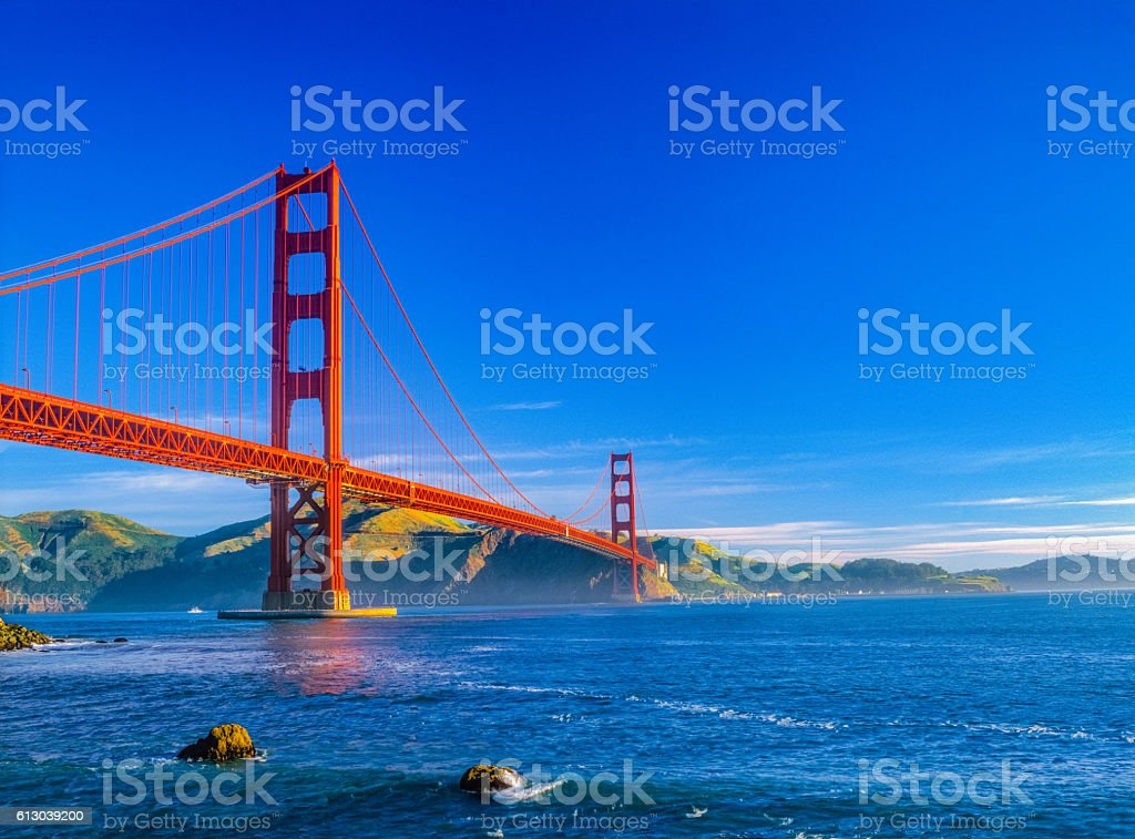 Golden Gate bridge and San Francisco Bay, CA (P) stock photo