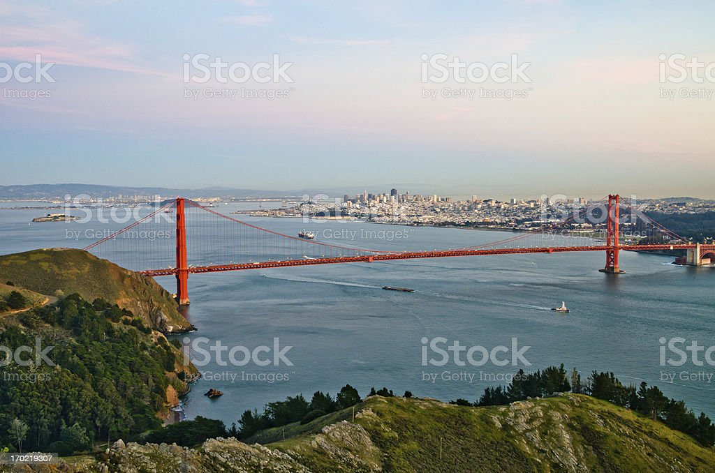 Golden Gate Bridge and San Francisco city skyline on background royalty-free stock photo