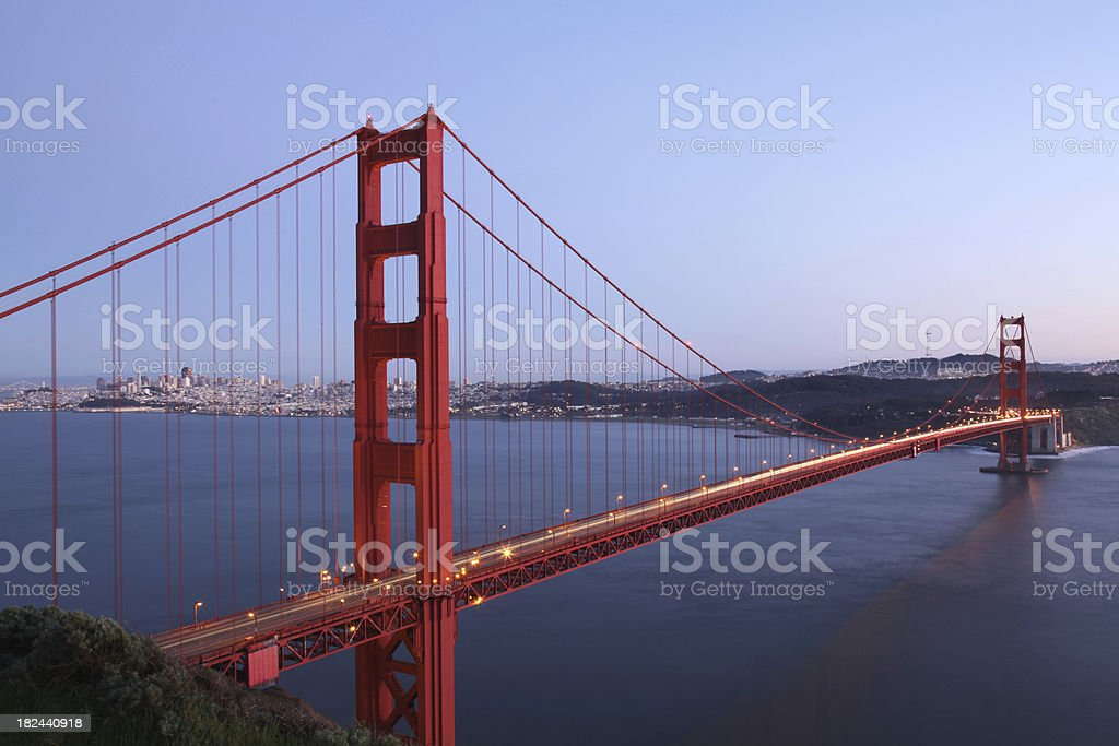 Golden Gate Bridge and San Francisco Skyline at Dusk stock photo