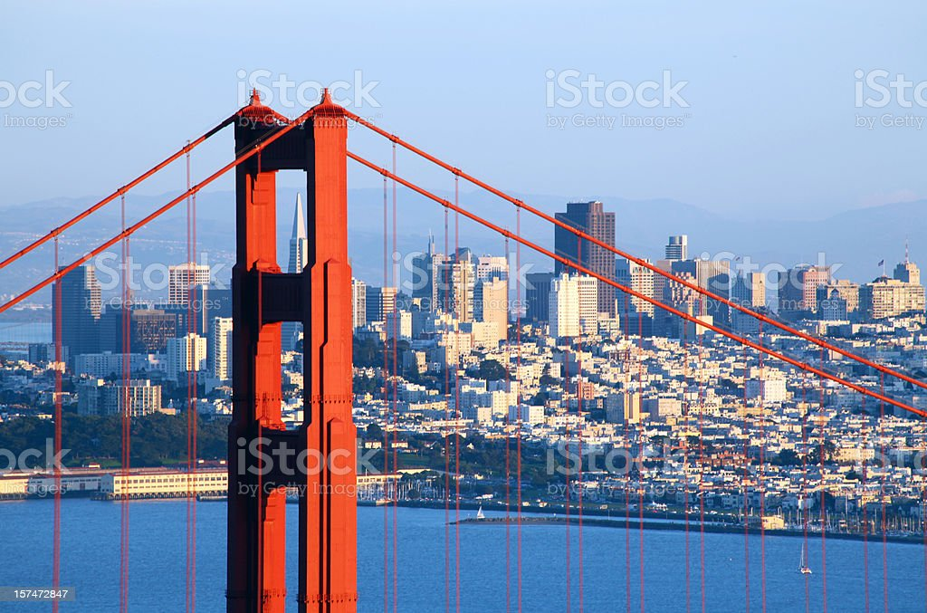 Golden Gate Bridge and San Francisco Skyline stock photo