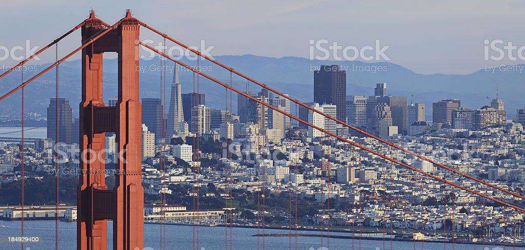 Golden Gate Bridge and San Francisco Skyline royalty-free stock photo