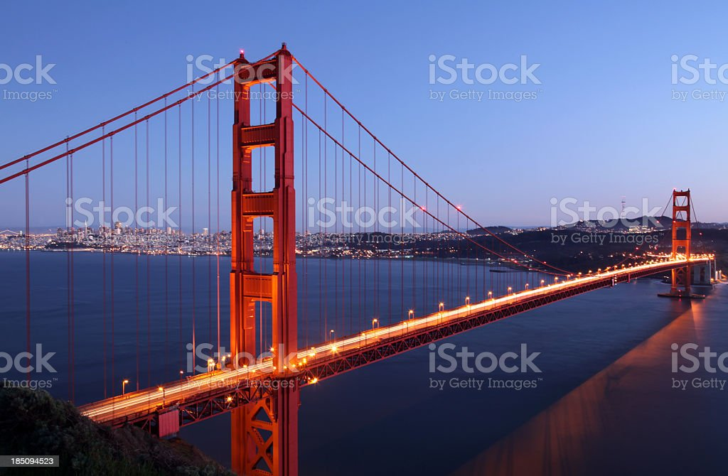 Golden Gate Bridge and San Francisco Skyline royalty-free stock photo