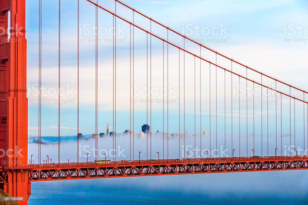 Golden Gate Bridge and San Francisco Skyline with Low Fog stock photo