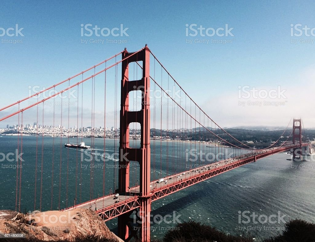 Golden Gate Bridge and San Francisco with Ship and Clouds stock photo