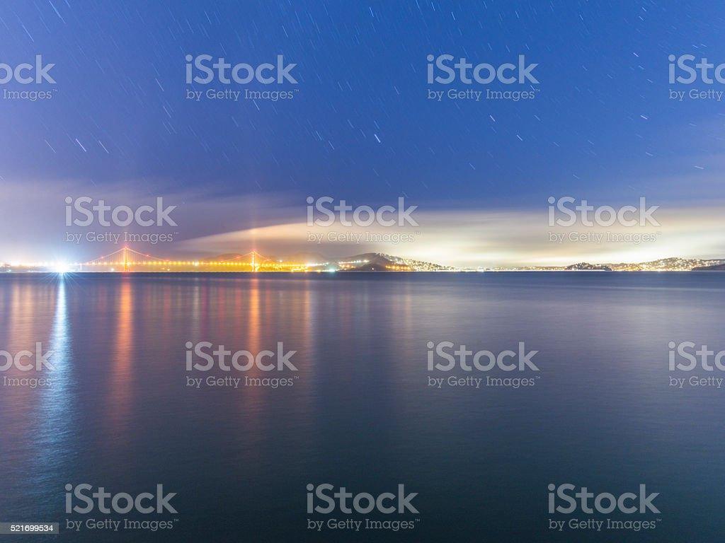 Golden Gate Bridge  and skyline of San Francisco at night stock photo