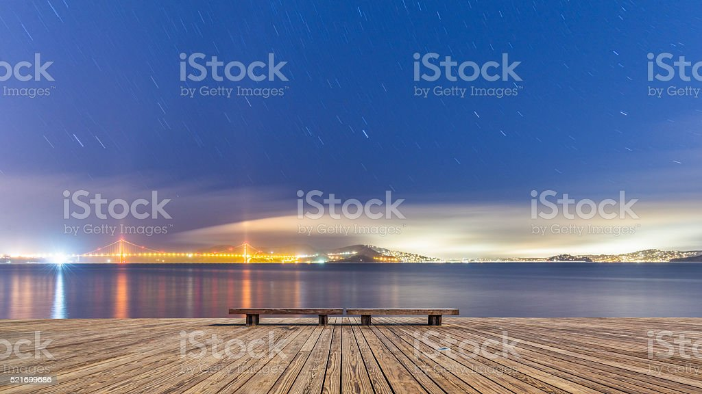 Golden Gate Bridge  and skyline of San Francisco at night stock photo