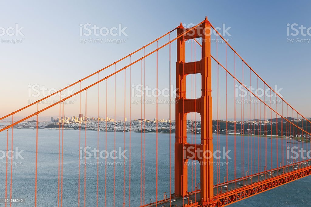 Golden Gate Bridge and Sun Francisco royalty-free stock photo