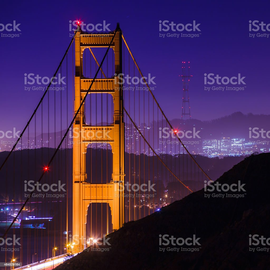 SF Golden Gate Bridge and Sutro Tower at Night stock photo