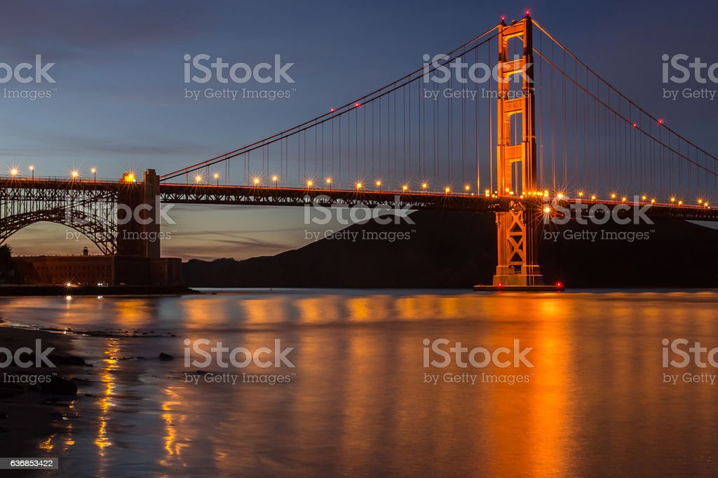 Golden Gate Bridge and the Marin Headlands in the background. stock photo