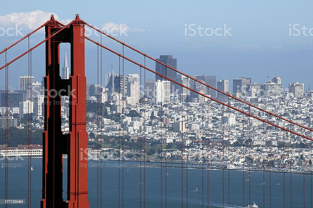 Golden Gate Bridge and Transamerica Building 2 royalty-free stock photo