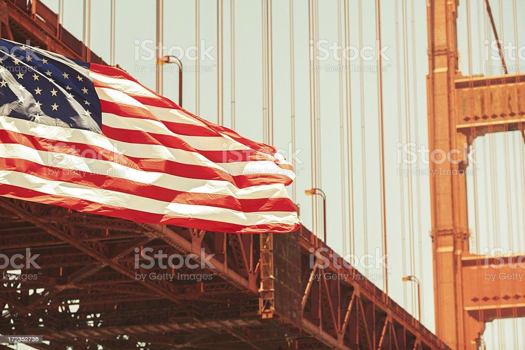 Golden Gate Bridge and US Flag royalty-free stock photo