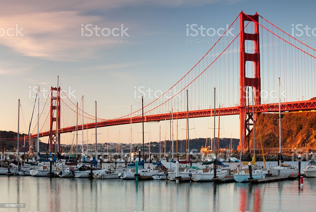 Golden Gate Bridge and Yachts in Marina stock photo