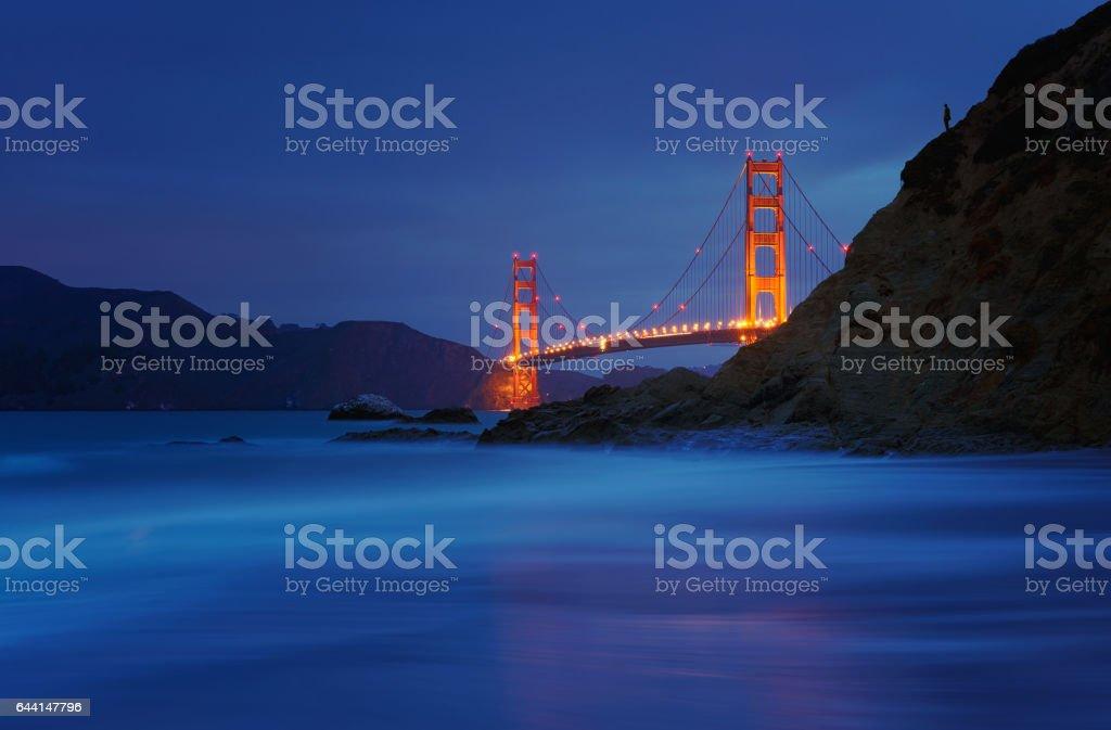 Golden Gate Bridge at Baker Beach, San Francisco, California, USA stock photo