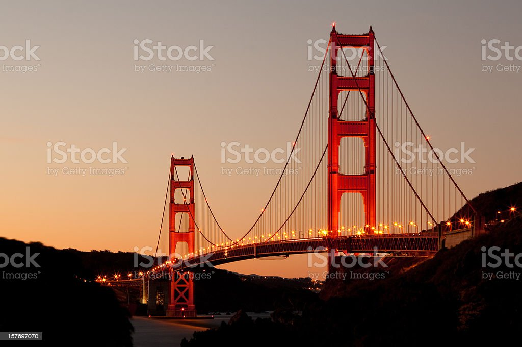 Golden Gate Bridge at Dawn stock photo