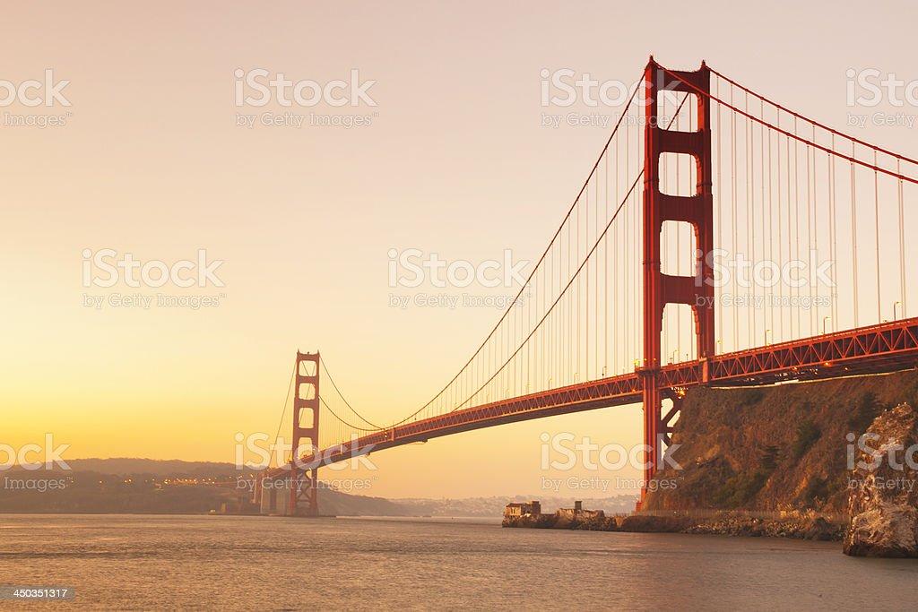 Golden Gate Bridge at sunrise royalty-free stock photo