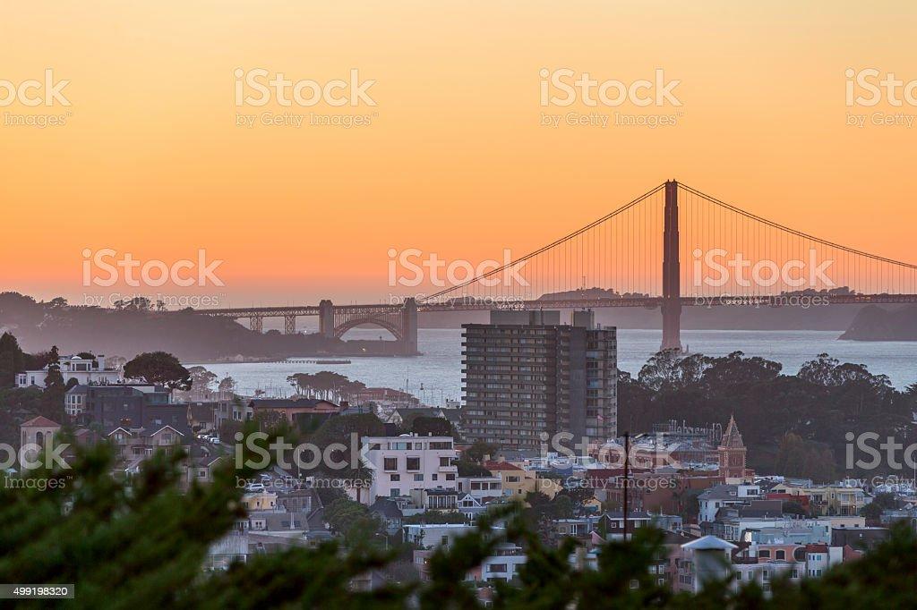 Golden Gate Bridge at Sunset stock photo