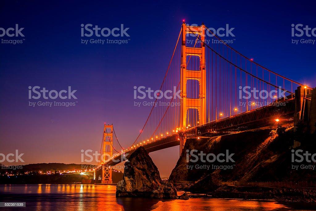 Golden Gate Bridge at Twilight stock photo