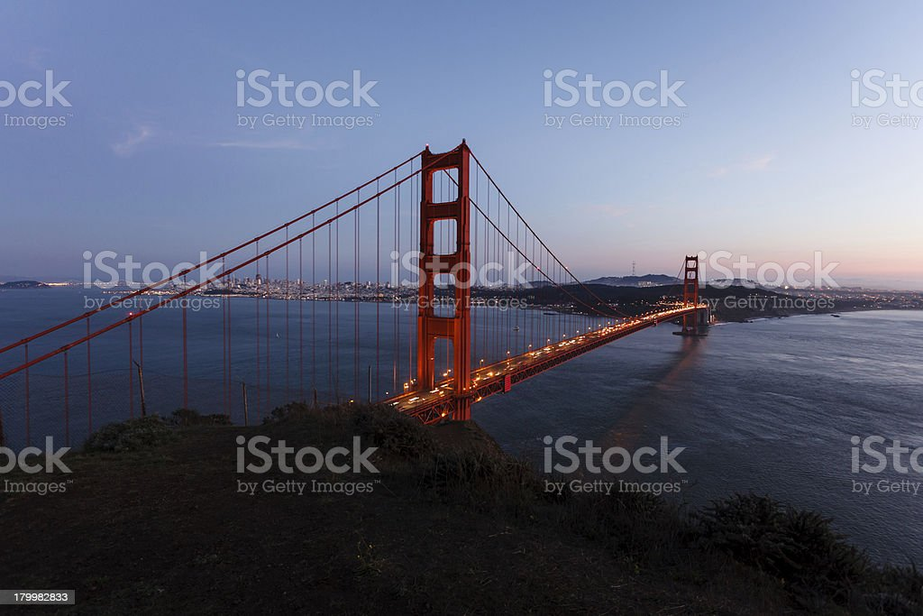 Golden Gate Bridge at twilight viewed from northside cliffs royalty-free stock photo