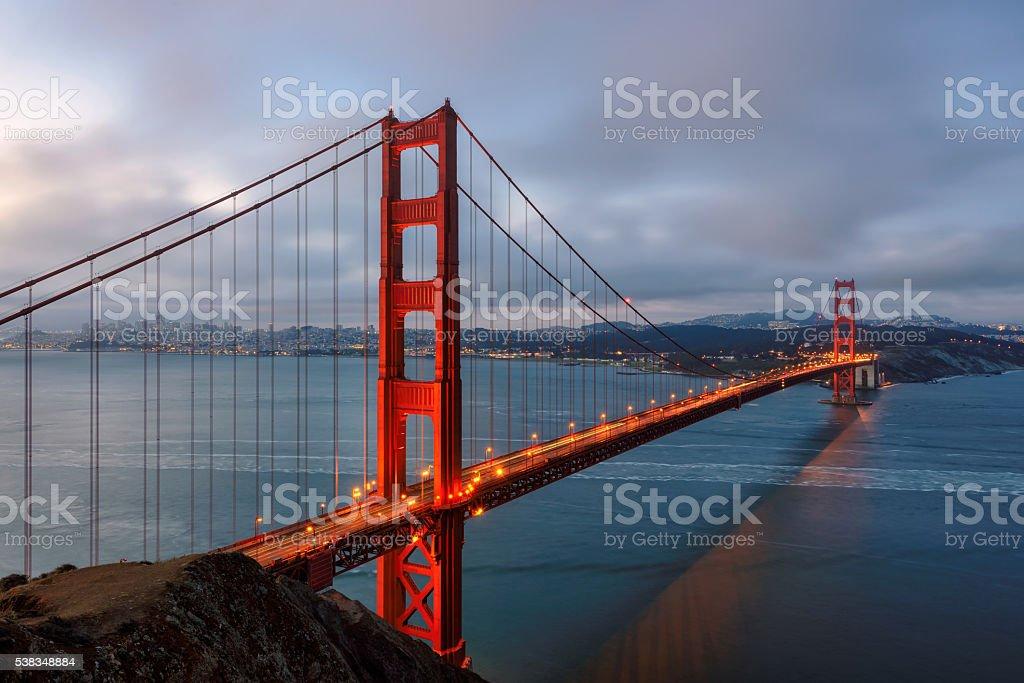 Golden Gate Bridge before sunrise stock photo