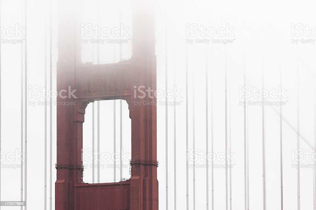 Golden Gate Bridge Cable Fog royalty-free stock photo