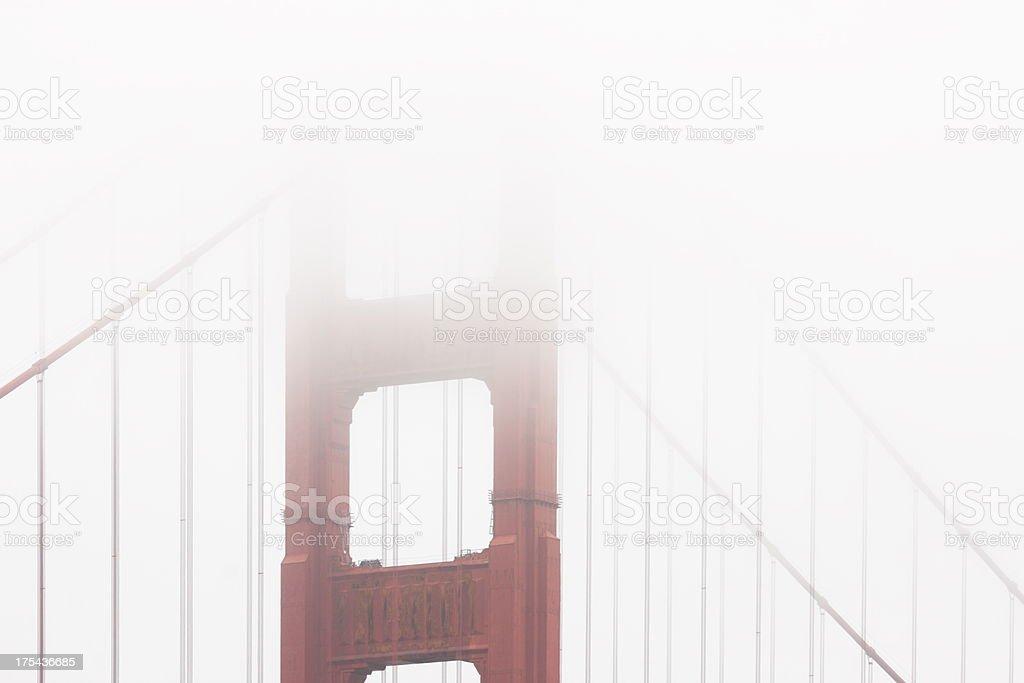 Golden Gate Bridge Cable Fog royalty-free stock photo