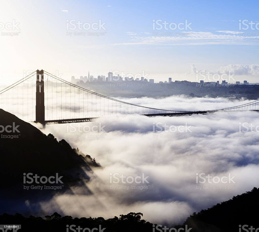Golden Gate Bridge Covered in Fog in San Francisco USA royalty-free stock photo