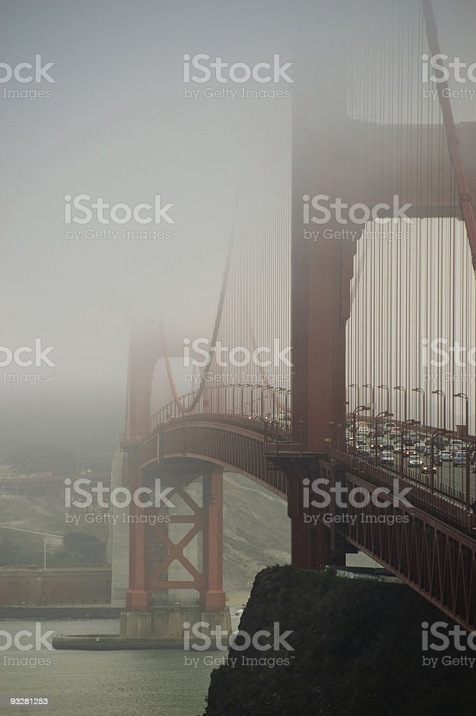Golden Gate bridge covered with fog royalty-free stock photo