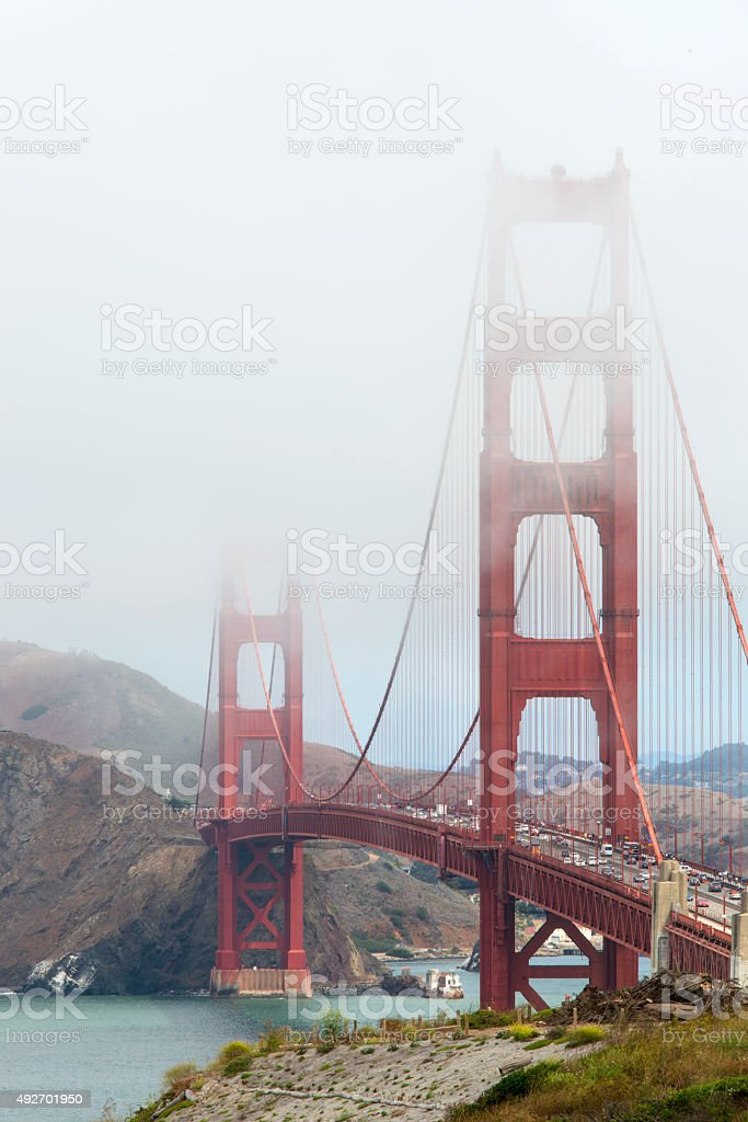 Golden Gate Bridge disappearing into the fog stock photo