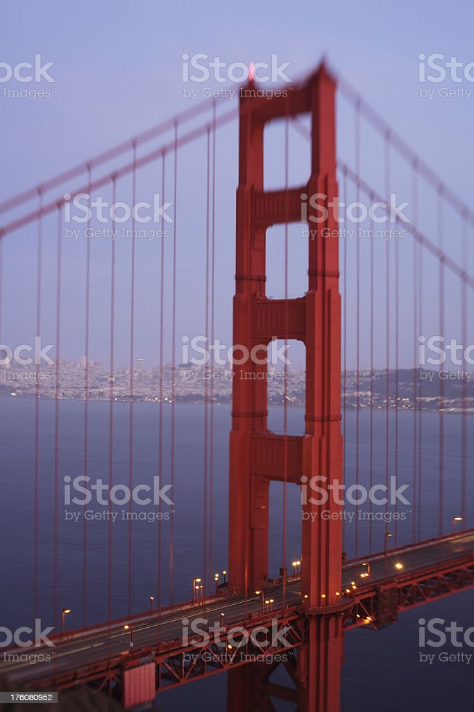 Golden Gate Bridge during the blue hour, dreamy effect royalty-free stock photo