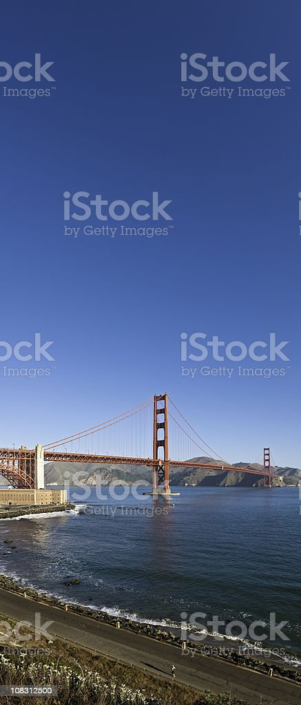 Golden Gate Bridge Fort Point San Francisco Marin vertical panorama stock photo