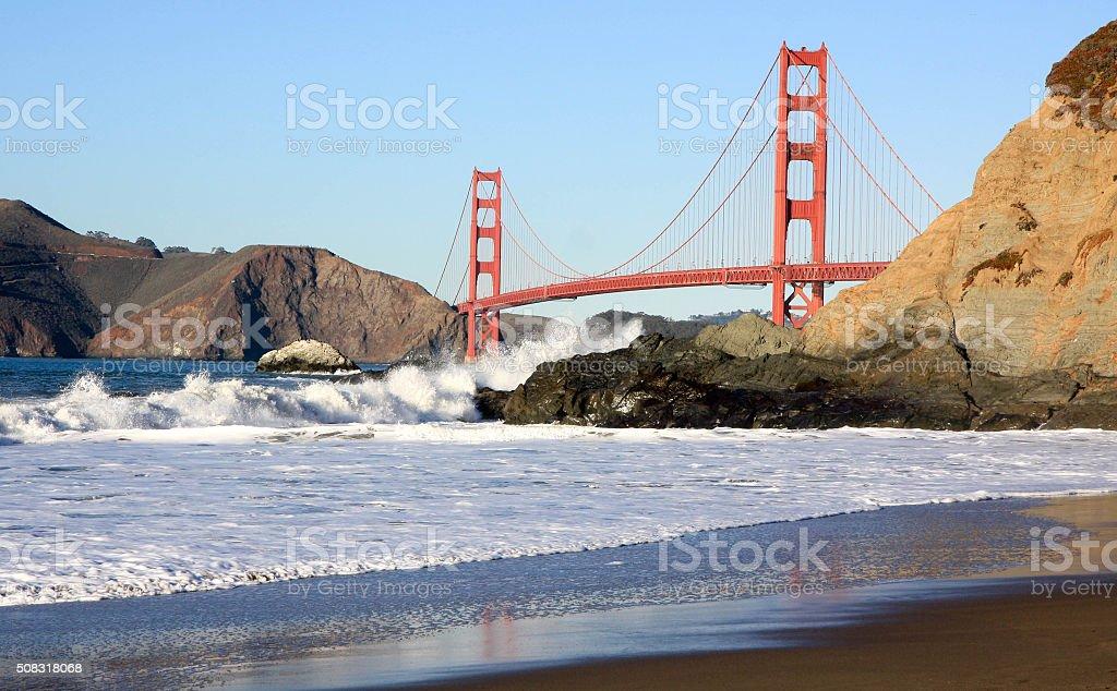 Golden Gate Bridge from Baker Beach at Sunset stock photo