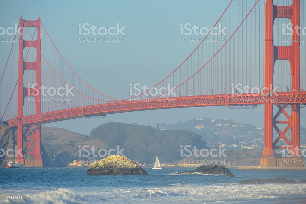 Golden Gate Bridge from Baker Beach in San Francisco, CA stock photo
