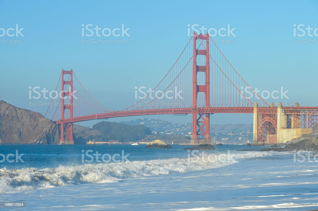 Golden Gate Bridge from Baker Beach in San Francisco, CA stock photo