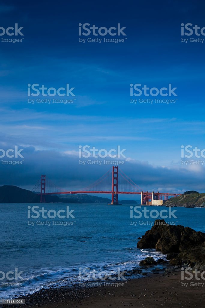 Golden Gate Bridge from China Beach at Dusk royalty-free stock photo