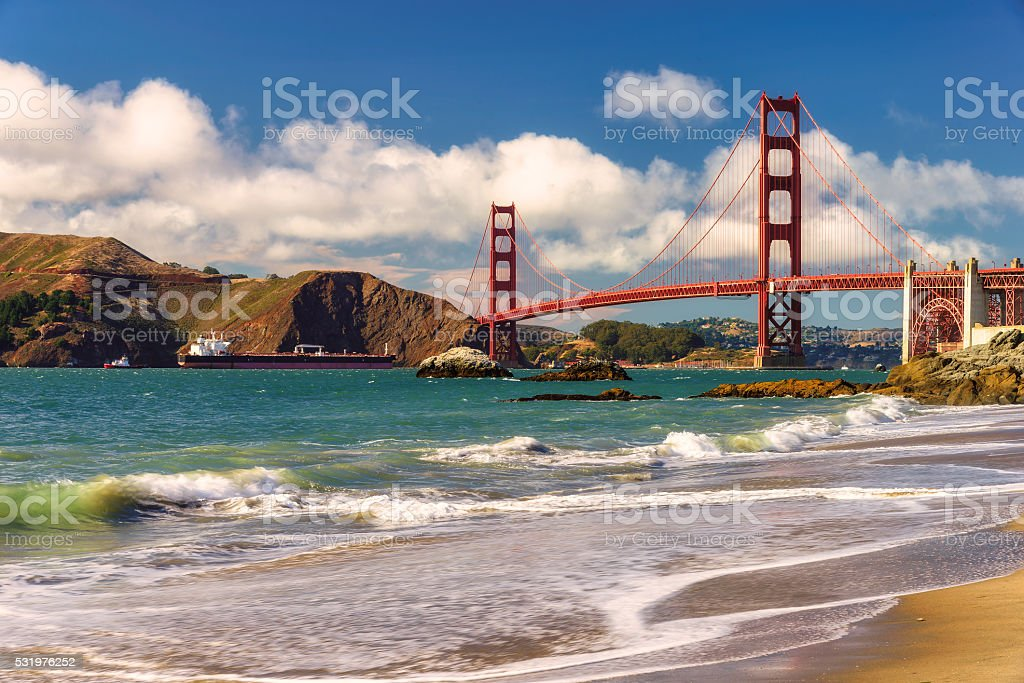 Golden Gate Bridge from Marshall beach in San Francisco stock photo