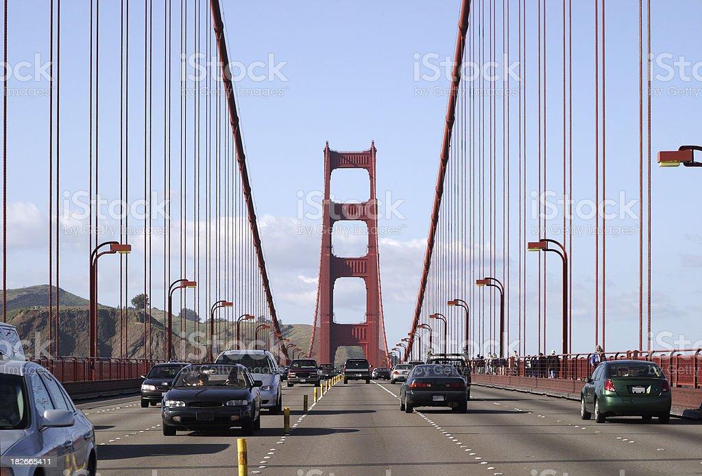 Golden Gate Bridge from the center lane stock photo