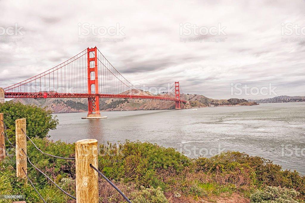 Golden Gate Bridge from walking path stock photo