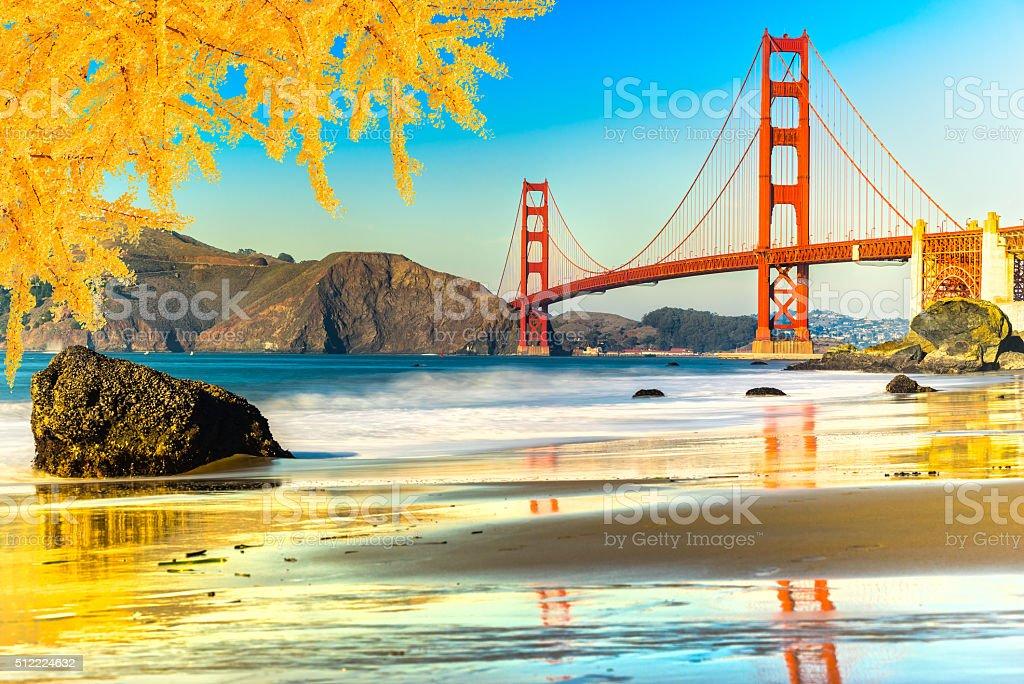 Golden Gate Bridge in autumn, San Francisco. stock photo