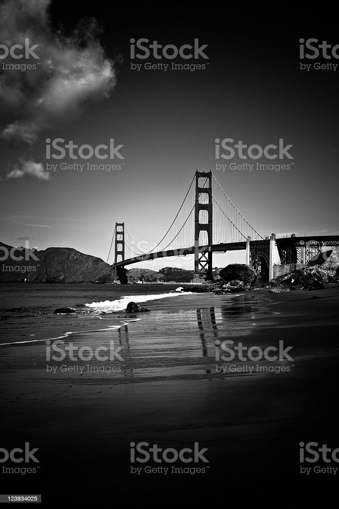 Golden Gate Bridge in black and white stock photo