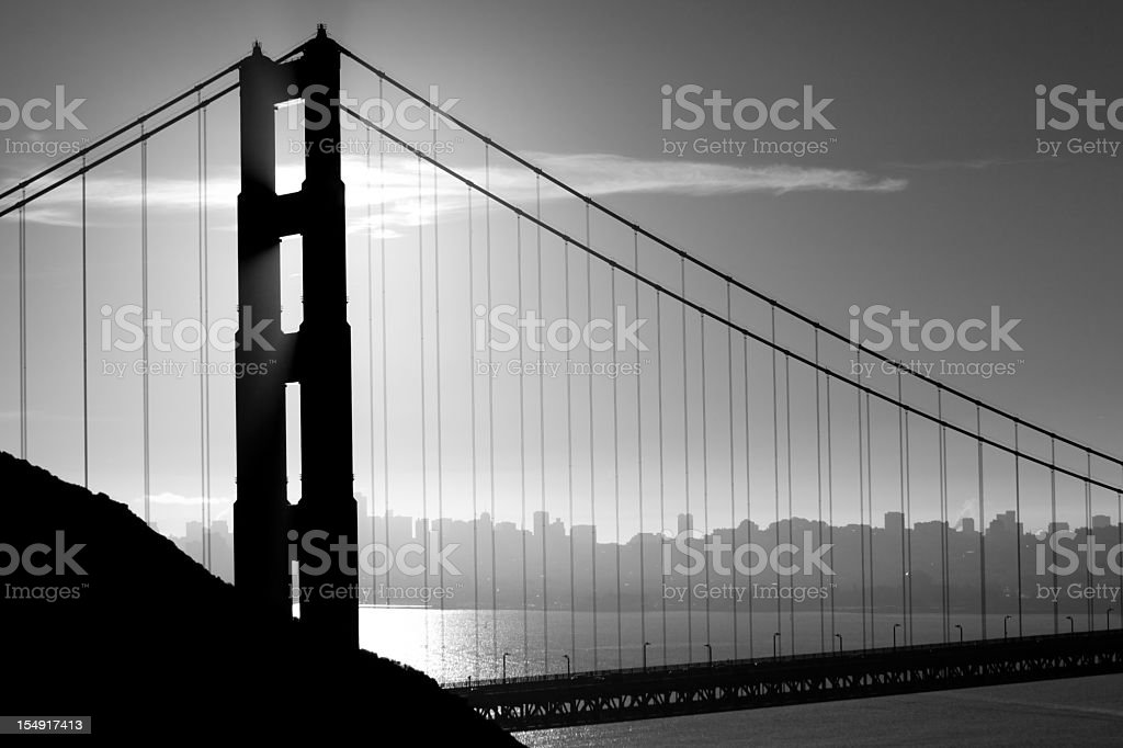 Golden Gate Bridge in Black and White stock photo